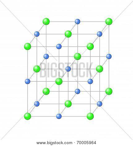 Chemical Crystal Lattice Of Sodium Chloride Salt