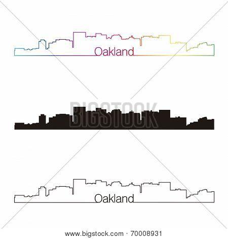 Oakland Skyline Linear Style With Rainbow