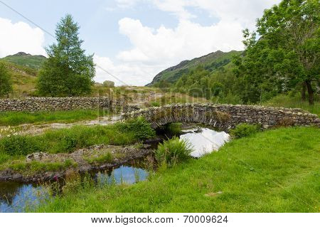 Packhorse bridge Watendlath Tarn Lake District Cumbria England
