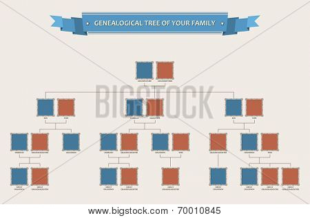 Genealogical tree of your family with bezels isolated