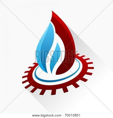 Vector symbol fire with gear. Blue and red flame glass icon with long shadow isolated