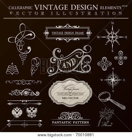Calligraphic design elements vintage set. Vector ornament frame and royal scroll