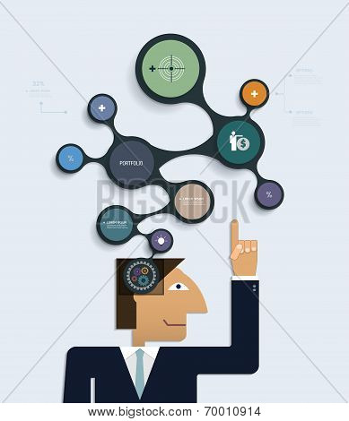 Businessman Thinks Of A New Creative Idea With Infographics Molecule Design