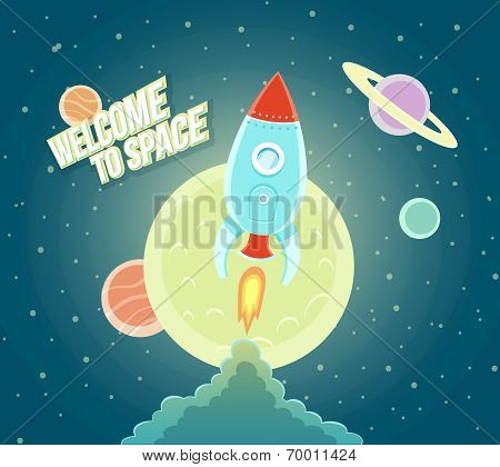 Space Rocket Ship Sky Icon Cartoon Modern Flat Design.