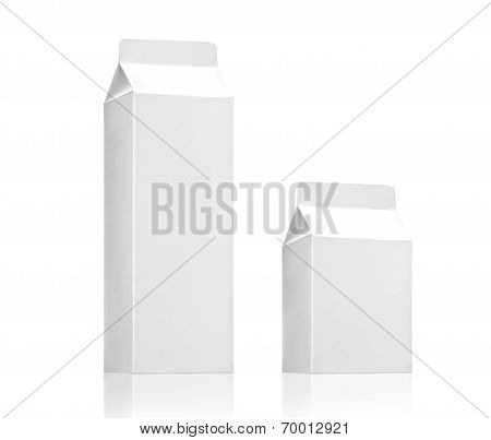 Milk box or juice box pack - Realistic photo image, Blank White Carton package