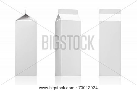 Milk box, juice box pack - Realistic photo image. Blank White paper cardboard brick carton package