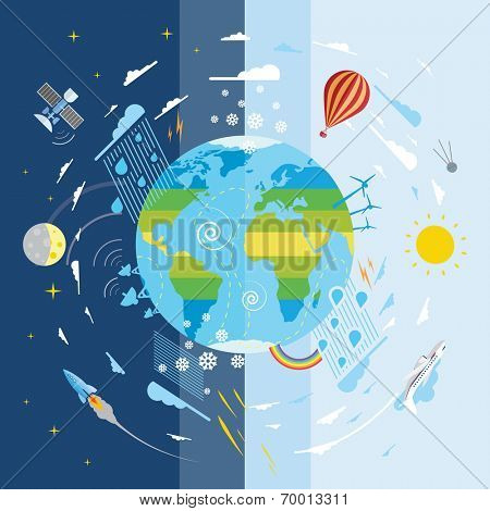 Flat vector illustration of planet Earth and weather conditions