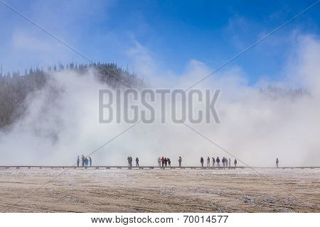 Tourist In A Fog In Yellowstone National Park