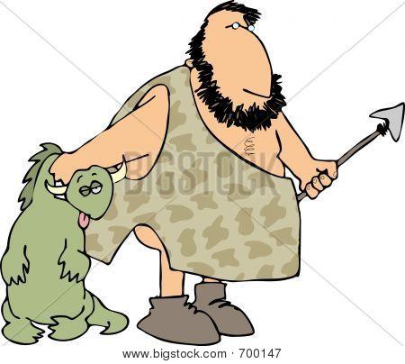 Caveman Hunting Dinosaurs