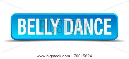 Belly Dance Blue 3D Realistic Square Isolated Button