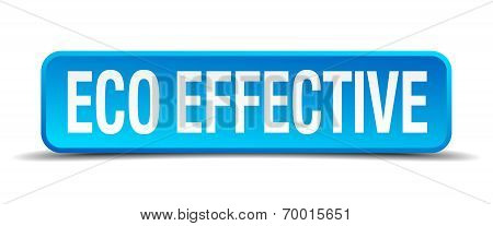 Eco Effective Blue 3D Realistic Square Isolated Button