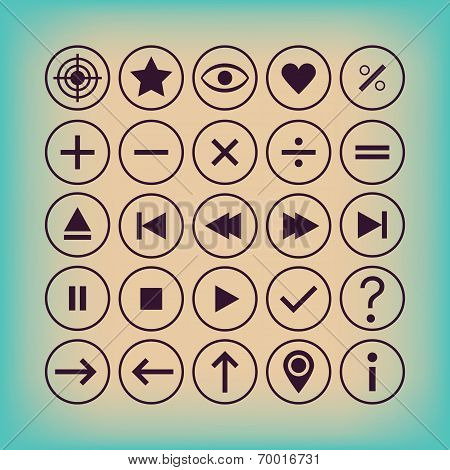 Thin outline controllers calculation general symbols and buttons icon set - Modern flat design