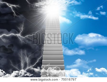 White stair with color sky and thunder