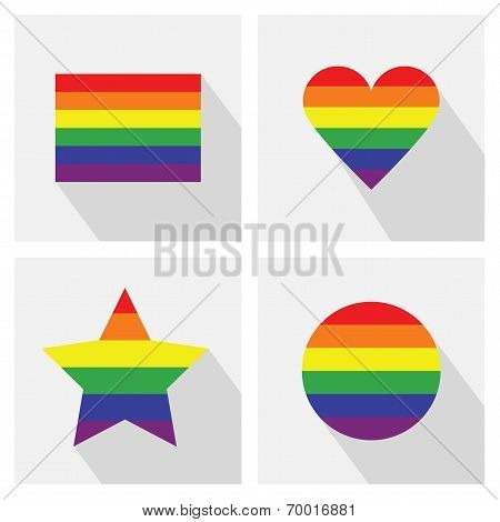 Pride flag stripe color icons in different shapes and long shadows