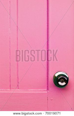 Door Pink Color And Door Knobs
