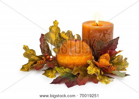 Autumn Arrangement With Candles.