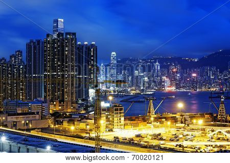 Construction site in hong kong city at night