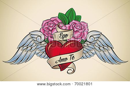 Old-school styled tattoo of a red heart, pink roses and blue wings. The motto Ego Amo Te  (Latin) means I Love You. Editable vector illustration.