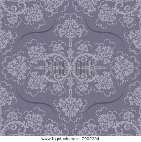 Seamless Grey Luxury Floral Wallpaper