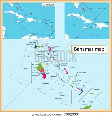 Map of the Commonwealth of the Bahamas drawn with high detail and accuracy. The Bahamas is divided into providence which are colored with different bright colors