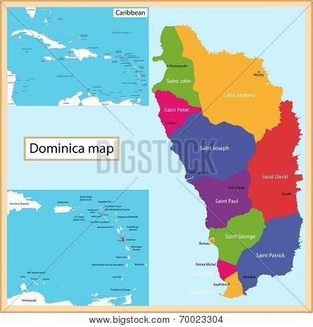 Map of the Commonwealth of Dominica drawn with high detail and accuracy.