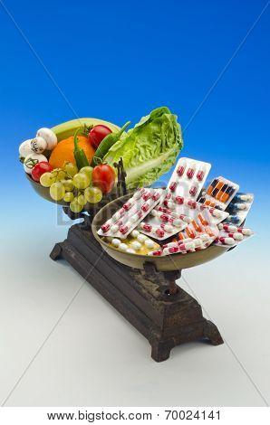 Healthy Food Versus Medical Pills.