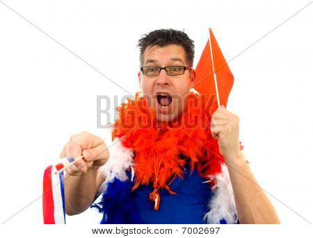 Man Is Posing In Orange Outfit
