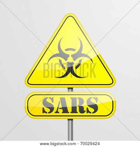detailed illustration of a yellow sars biohazard warning sign, eps10 vector