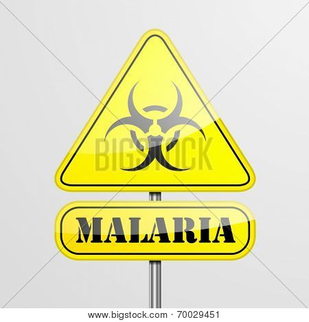 detailed illustration of a yellow malaria biohazard warning sign, eps10 vector