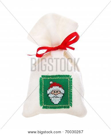 Isolated Handmade Nicholas Or Santa Claus Sac For A Christmas Present.