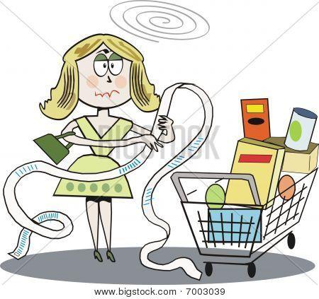 Woman shopping cartoon