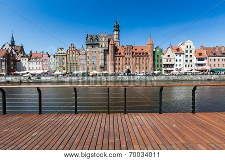 City Of Gdansk (danzig), Poland. Panoramic View Of Old Town Houses With Reflections On Motlawa River