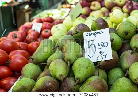 Green Pears At A Famers Market In Poland.