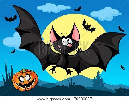 Halloween Picture With Pumpkin, Cute Bats And Moon In The Back