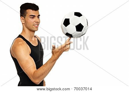 Young man play with ball