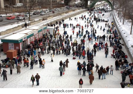 Skaters enjoying the Winterlude Festival in Ottawa