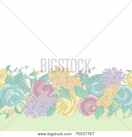 Seamless Floral Border with wildflowers