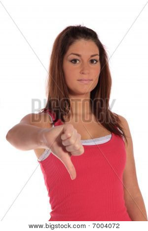 Young Woman Making Negative Gesture