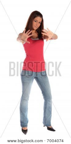 Young Woman Making A Repelling Gesture