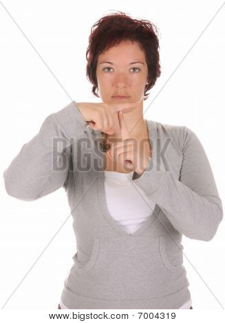 """Hand Demonstrating, """"t"""" In The Alphabet Of Signs"""