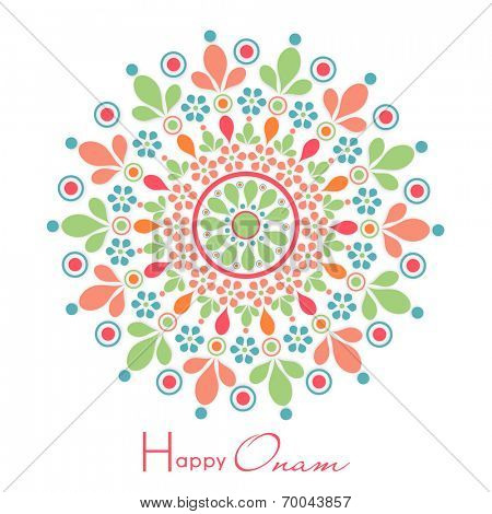 Colorful flower decorated rangoli on white background for South Indian festival Happy Onam celebrations.