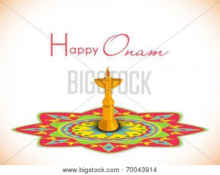 Golden oil lamp on floral decorated rangoli background for South Indian festival, Happy Onam celebrations.
