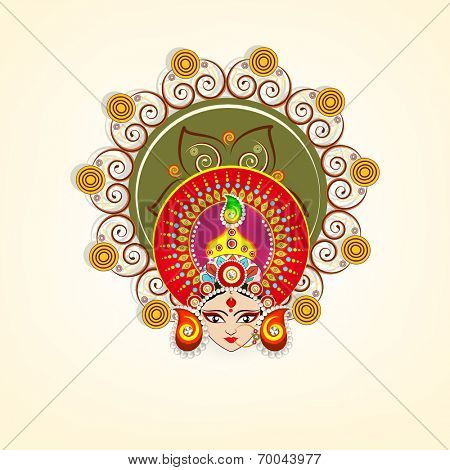 Beautiful face of Goddess Durga with a colorful pearls decorated crown on beige background for Dussehra festival.