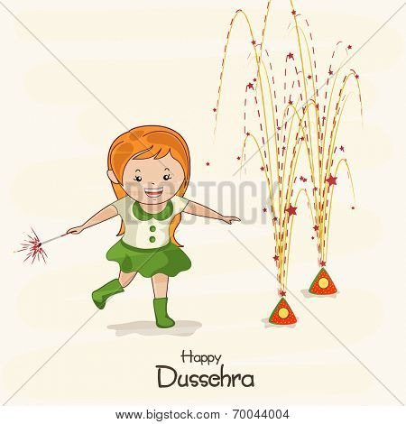 Illustration of a small girl wearing green dress with brown hair  playing with colourful crackers named as Anar and enjoying the festival of Dussehra.