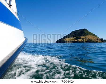 Boating on Tauranga Harbour, New Zealand.