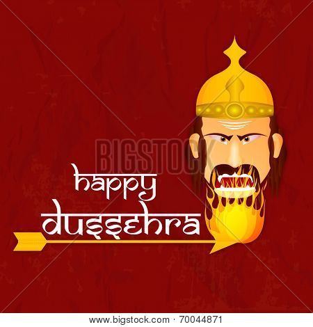 Face of angry Ravana burning in fire with the help of an arrow on tha wintage rad background with the stylish text of Dussehra.