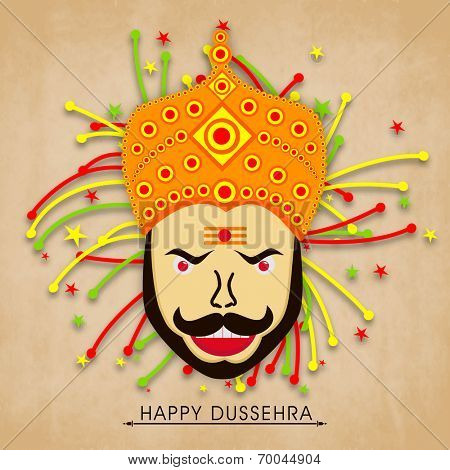 Face of proudy Ravana with colourful crackers on wintage background.