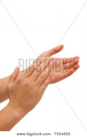 Human Hands Clapping On White