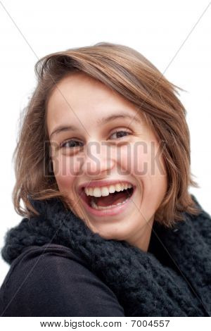 Portrait Of A Joyful Young Woman Laughing