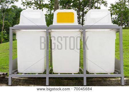 Rubbish Bin In The Park - Public Area